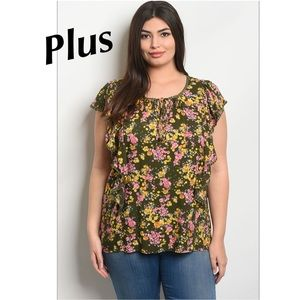 Tops - 5 for $100 Olive Pink Floral Blouse